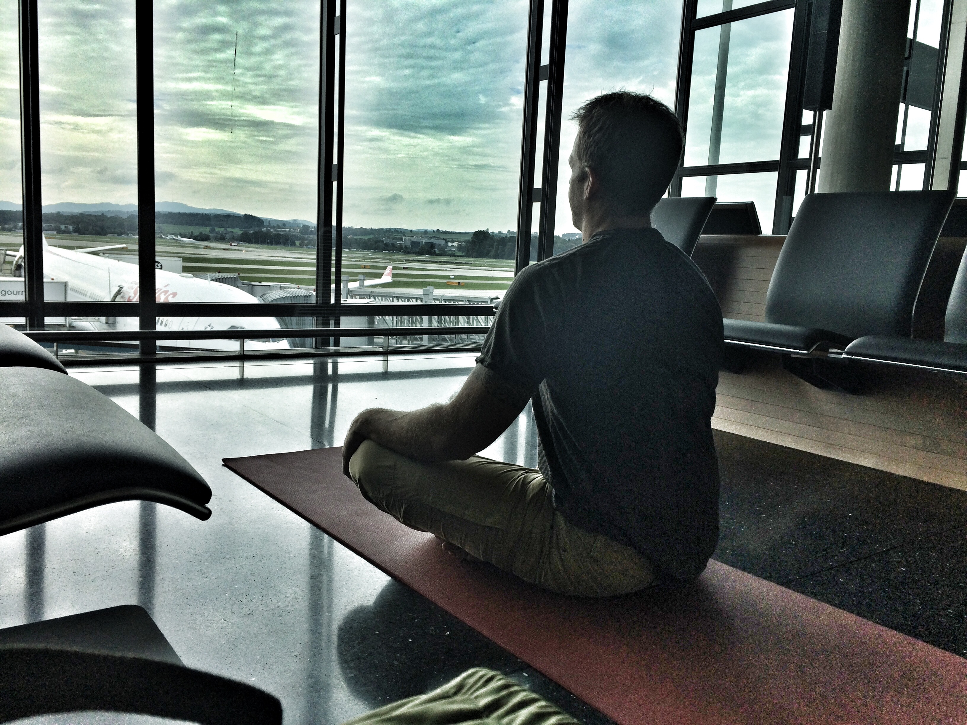 Coach Jeff Grant airport yoga in Zurich