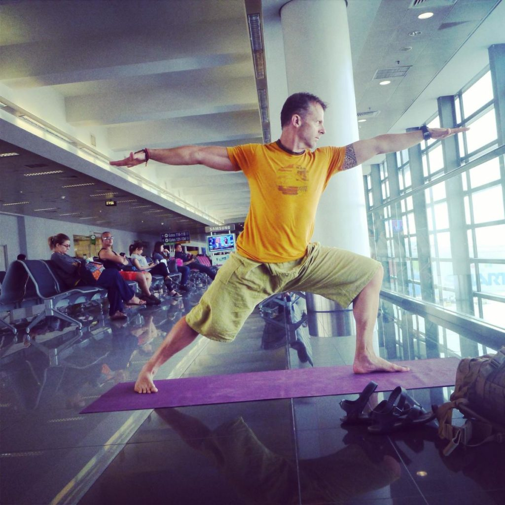 Jeff Grant doing airport yoga in the Philippines